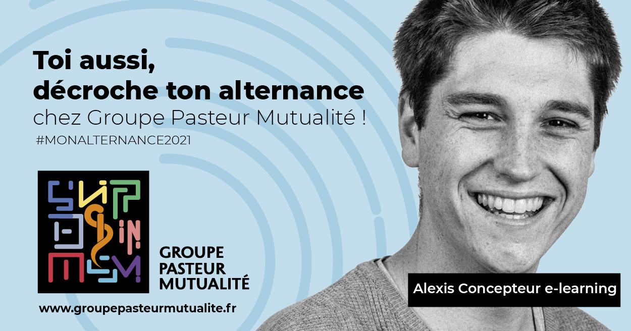 Groupe Pasteur Mutualité lance sa nouvelle campagne de recrutement pour des contrats en alternance en s'appuyant sur ses talents actuels. Ici, Alexis, concepteur e-learning.