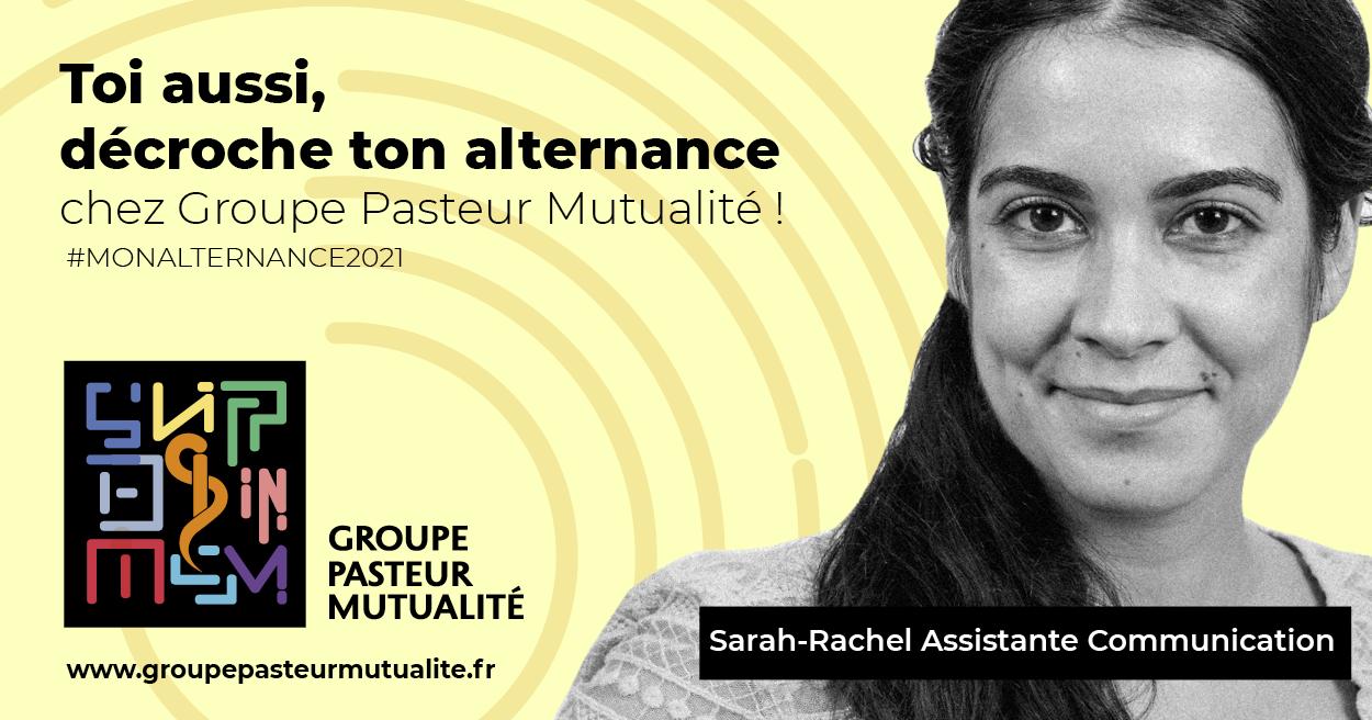Groupe Pasteur Mutualité lance sa nouvelle campagne de recrutement pour des contrats en alternance en s'appuyant sur ses talents actuels. Ici, Sarah Rachel, assistante communication